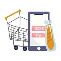 online market, smartphone shopping cart and bread, food delivery in grocery store