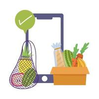 online market, smartphone check mark ordering fresh food grocery shop home delivery vector