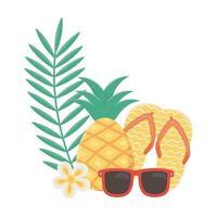 verano viajes y vacaciones chanclas piña gafas de sol playa tropical flor vector