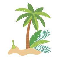 viajes de verano y vacaciones pala de arena palmera playa de arena vector