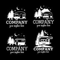 Ilustración de estilo de arte de línea de paisaje para diseño de camisetas, campamento nocturno, viajes de campamento