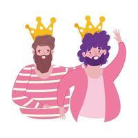 feliz día del padre, tarjeta de felicitación para padres con celebración de coronas vector