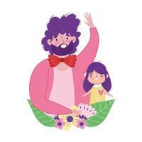 feliz dia del padre padre e hija flores amor vector