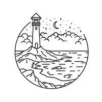 lighthouse line art style, landscape line art design, sea and beach line art vector