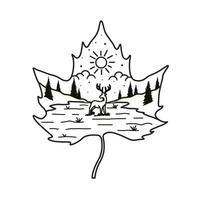 landscape and deer line art t-shirt design vector