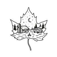 landscape leaf line art t-shirt design vector