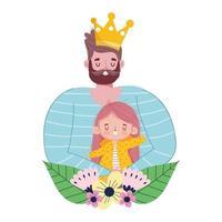 feliz día del padre, papá con corona e hija flores amor vector