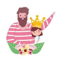 feliz dia del padre, lindo padre e hijo corona flores amor vector