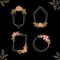 set of floral geometric frames vector