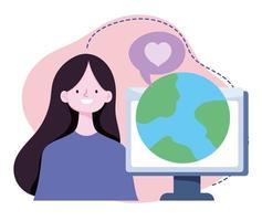 online training, girl with computer world lesson virtual, courses knowledge development using internet vector
