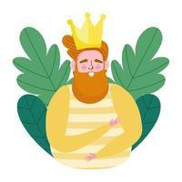 feliz día del padre, papá barbudo con corona deja dibujos animados de follaje vector