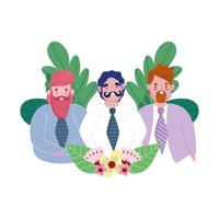 feliz día del padre, grupo de papás con traje flores celebración vector