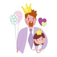 feliz día del padre, hombre barbudo con corona con su hijo con globo vector