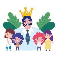 feliz día del padre, papá con corona de bigote y celebración de niños pequeños vector