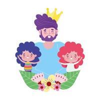 feliz día del padre, papá con decoración de niños pequeños vector