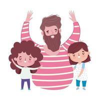 feliz día del padre, celebrando a papá con dibujos animados de hijo e hija vector