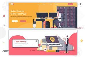 Conjunto de páginas de aterrizaje de seguridad cibernética. vector