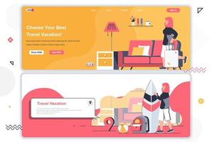 Travel agency landing pages. vector