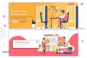 Delivery company landing pages set. vector