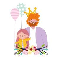 happy fathers day, man with crown daughter and balloons decoration vector
