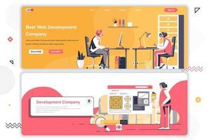 Conjunto de páginas de destino de empresas de desarrollo web. vector