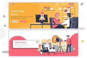 Creative agency landing pages set.