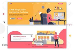 Web design studio landing pages set. vector