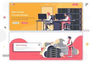 Web hosting provider landing pages set. vector