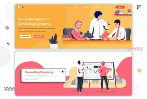 Consulting company landing pages set. vector