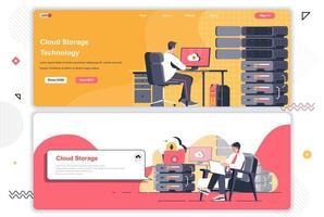 Cloud storage landing pages set. vector