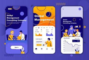 Global management unique design kit for social networks stories.