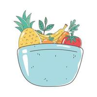 dish bowl with fruits and vegetable fresh nutrition healthy food isolated icon design vector