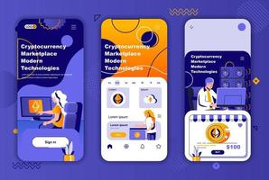 Cryptocurrency marketplace unique design kit for social networks stories. vector
