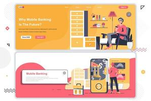 Mobile banking landing pages set. vector
