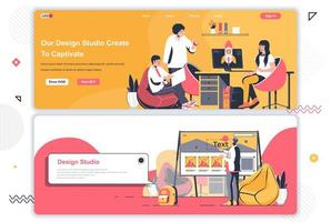 Design studio landing pages set. vector