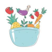 bowl with fruits and vegetables fresh nutrition healthy food isolated icon design vector
