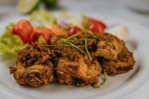 Herb fried pork with vegetables