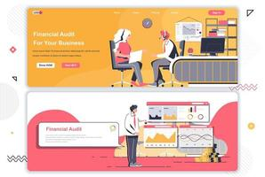 Financial audit landing pages set. vector