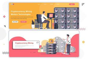 Cryptocurrency marketplace landing pages set. vector