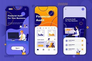 Financial audit unique design kit for social networks stories. vector