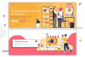 Digital marketing agency landing pages set. vector