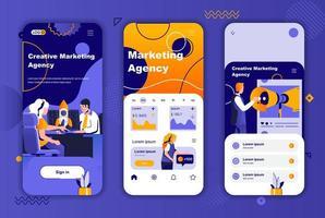 Marketing agency unique design kit for social networks stories. vector