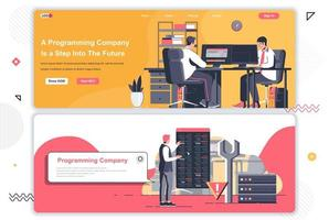 Programming company landing pages set. vector