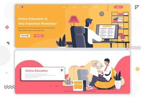 Online education landing pages set. vector