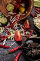 Papaya salad ingredients with fermented fish