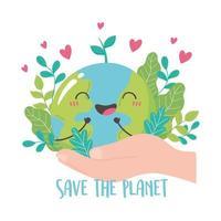 salvar el planeta, mano sosteniendo lindo mapa de la tierra hoja corazones dibujos animados vector