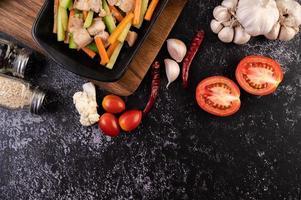 Stir fry vegetables with pork belly