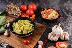 Stir fry white cabbage with vegetables photo