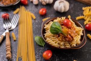 Macaroni pasta with vegetables photo