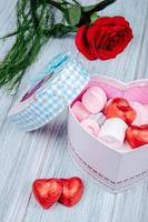 Heart-shaped gift box with a rose